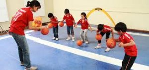 kids during basketball exercise